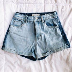 Two Tone Light & Dark Wash Mom Jean Cuffed Shorts